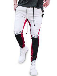 Letter Print Zipper Slit Contrast Sports Pants - White Xl