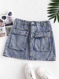 Flap Pockets Denim Cargo Skirt - Slate Blue Xs