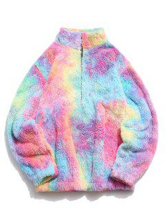 Half Zip Colorful Faux Fur Fluffy Sweatshirt - Light Pink L