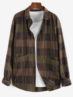 ZAFUL Long Sleeve Stripes Pocket Button Up Shirt - Deep Coffee 2xl