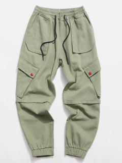Pantalon Décontracté Fuselé Avec Multi-Poches à Cordon - Vert Clair M