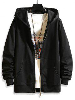 Zip Up Solid Hooded Jacket - Black Xs
