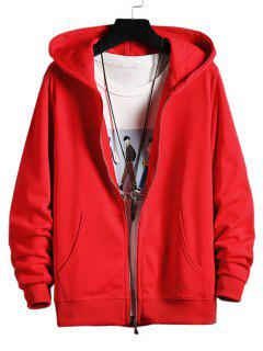 Zip Up Solid Hooded Jacket - Red Xs