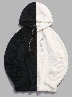 Contrast Faux Fur Fluffy Hoodie - White M