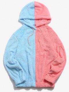 Contrast Faux Fur Fluffy Hoodie - Light Pink L