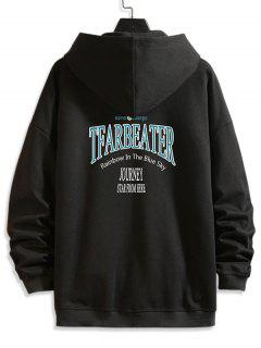 Letter Text Print Zip Up Hoodie Jacket - Black Xl