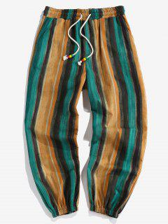 ZAFUL Striped Print Drawstring Casual Pants - Multi 2xl