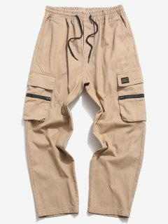 Zipper Flap Pocket Straight Cargo Pants - Khaki 2xl