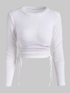 Ribbed Side Cinched Crop Top - White M