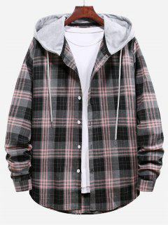 Plaid Pattern Color Blocking Hooded Shirt - Smokey Gray M