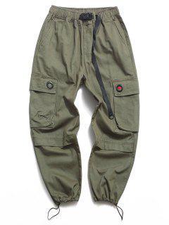 Pantalon Cargo Bouclé En Couleur Unie Avec Poche à Rabat - Vert 2xl