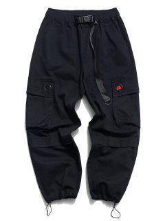 Solid Buckle Flap Pocket Cargo Pants - Black Xl