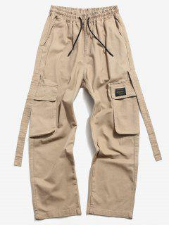 Drawstring Letter Applique Casual Cargo Pants - Khaki Xs