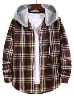 Striped And Plaid Pattern Long Sleeve Hooded Shirt - Red Wine 2xl