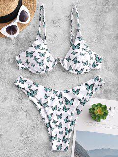ZAFUL Underwire Butterfly Print Brazilian Bikini Swimwear - White S