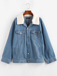 ZAFUL Teddy Collar Drop Shoulder Denim Jacket - Light Blue S