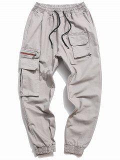 Letter Print Drawstring Multi Pockets Casual Pants - Gray Xs