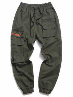 Letter Print Drawstring Multi Pockets Casual Pants - Army Green M