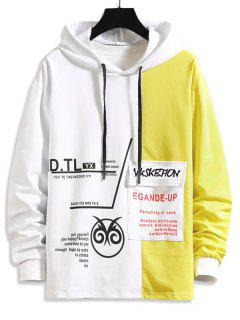 Two Tone Letter Pattern Flap Pocket Hoodie - Yellow S