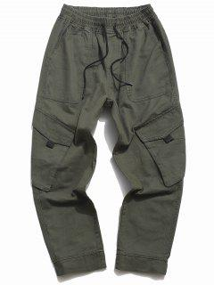 Drawstring Tapered Cargo Pants - Army Green Xs