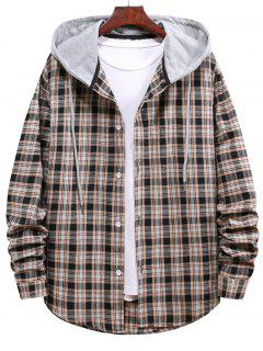 Plaid Pattern Colorblock Hooded Shirt - Black L