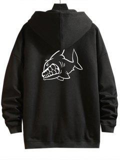 Chaqueta Sudadera Con Capucha Cremallera Zip Up Diseño Impreso Dibujo Animado Tiburón - Negro M