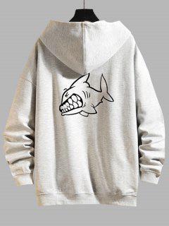 Cartoon Shark Print Zip Up Hoodie Jacket - Platinum 3xl