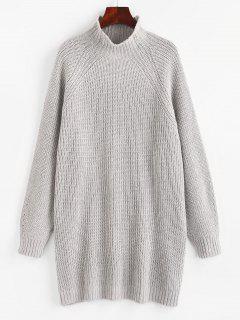 High Neck Raglan Sleeve Tunic Sweater - Gray M