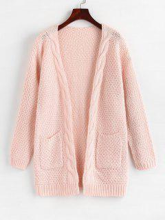 Open Front Cable Knit Chunky Cardigan - Light Pink M