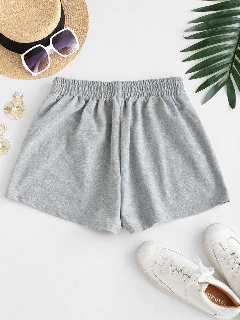 shop Front Pocket Marled Sweat Shorts - GRAY L Mobile