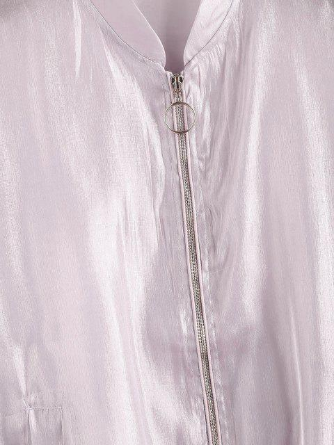 lady Zip Up Glitter Shiny Jacket - LIGHT PURPLE M Mobile