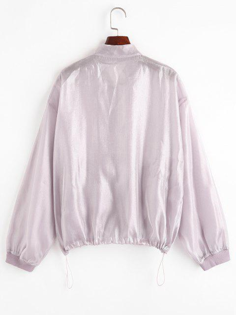 Zip Up Glitter Shiny Jacket - ضوء ارجواني M Mobile