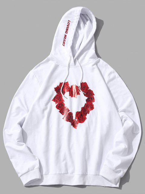 shop ZAFUL Floral Heart Graphic Drawstring Lounge Hoodie - WHITE 2XL Mobile