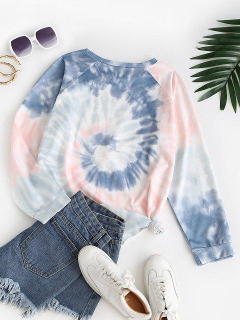 Raglan Sleeve Spiral Tie Dye Print Sweatshirt - متعدد S Mobile