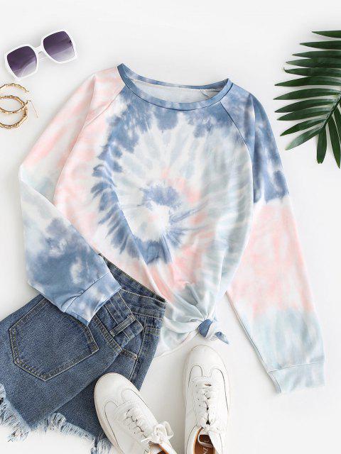 shops Raglan Sleeve Spiral Tie Dye Print Sweatshirt - MULTI XL Mobile