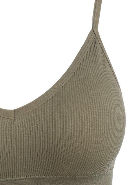 shop Removeable Pads Ribbed Sports Bra - CAMEL BROWN ONE SIZE Mobile