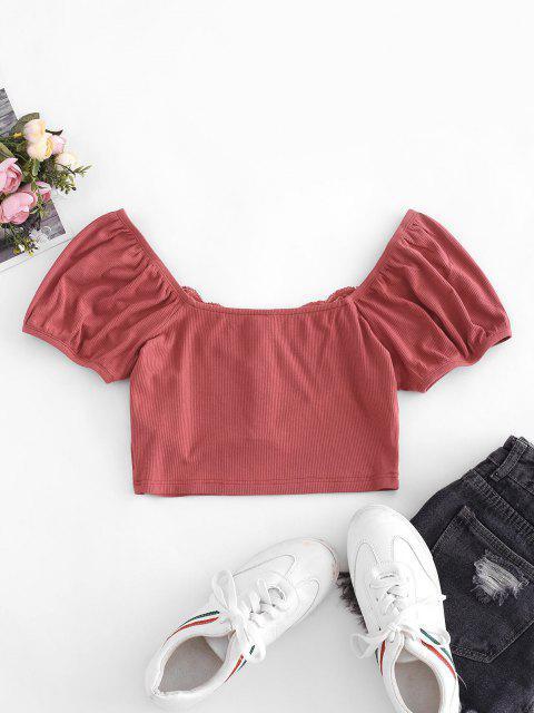 ZAFUL Camiseta Corta de Henley de Panel de Encaje Acanalado - Rojo Frijol XL Mobile