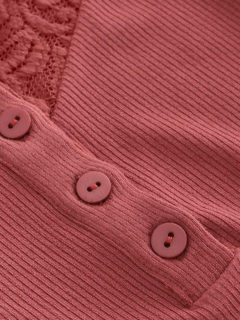 ZAFUL Camiseta Corta de Henley de Panel de Encaje Acanalado - Rojo Frijol S Mobile