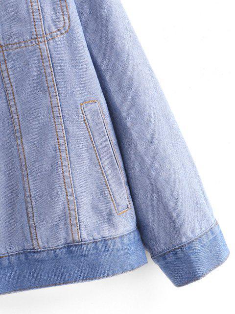Giacca Sciolta in Denim con Tasche e Bottoni - Blu Grigio M Mobile