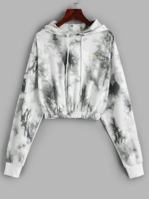 womens Drawstring Embroidered Tie Dye Hoodie - MILK WHITE S Mobile