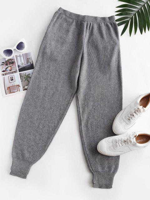 Buchstabe Applique Gestrickte Tasche Schrittdruck Hose - Grau Eine Größe Mobile