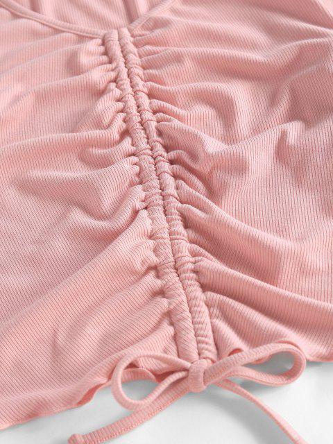 ZAFUL Gerippte Zweiteilige Rüschen Shorts Set - Lippenstift Rosa XL Mobile