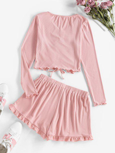 best ZAFUL Ribbed Cinched Frilled Two Piece Shorts Set - LIPSTICK PINK M Mobile