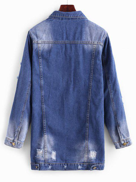 latest Longline Button Up Distressed Denim Coat - LAPIS BLUE M Mobile