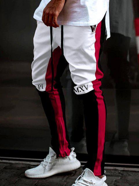 Pantalones Deportivo Corte Contraste Cremallera Estampado Letras - Blanco XL Mobile