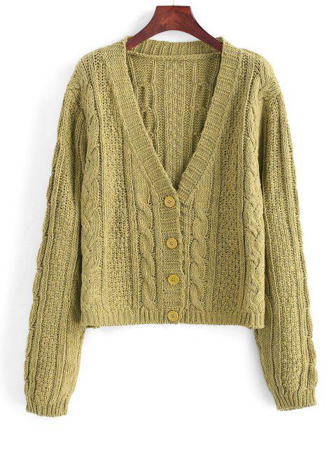 hot Plunging Button Up Cable Knit Cardigan - LIGHT GREEN ONE SIZE Mobile