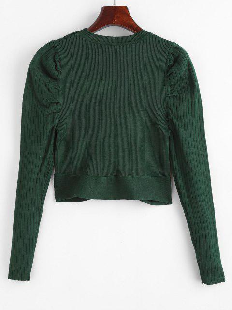 Rundhalsausschnitt Puff Ärmel Kreuzer und Querer Pullover - Dunkelgrün Eine Größe Mobile