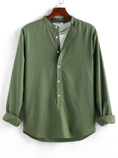 affordable ZAFUL Solid Half Button Long Sleeve Shirt - DEEP GREEN S Mobile