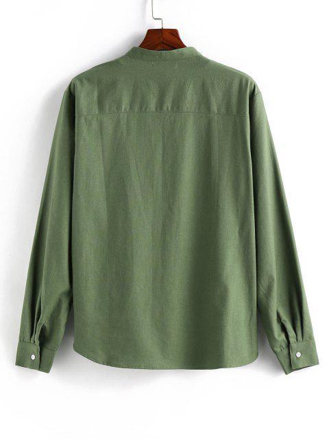 ZAFUL Solid Half Button Long Sleeve Shirt - الأخضر العميق 2XL Mobile