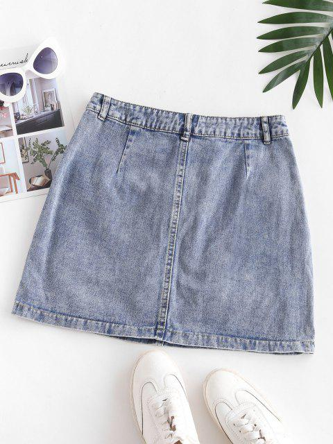best Flap Pockets Denim Cargo Skirt - SLATE BLUE XS Mobile